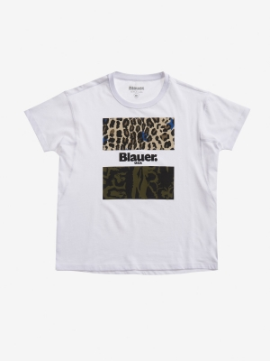 BLAUER Camiseta manga corta detalle animalprint - 2