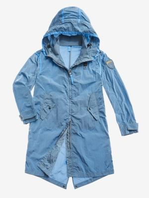 BLAUER Cortavientos largo con capucha azul - 2