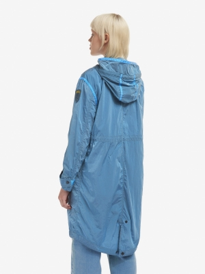 BLAUER Cortavientos largo con capucha azul - 3