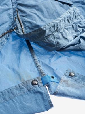 BLAUER Cortavientos largo con capucha azul - 4