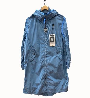 BLAUER Cortavientos largo con capucha azul - 5