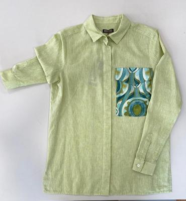 MALÌPARMI Camisa lino con bolsillo estampado
