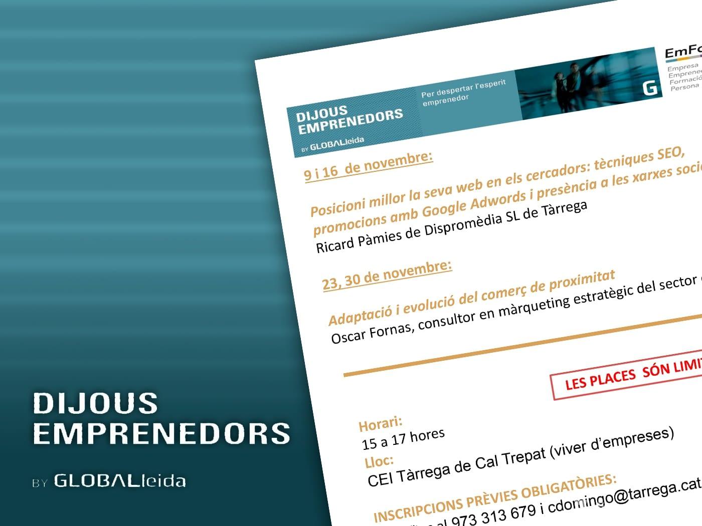 """Dispromèdia estarà present als """"Dijous Emprenedors"""" a CEI Tàrrega"""
