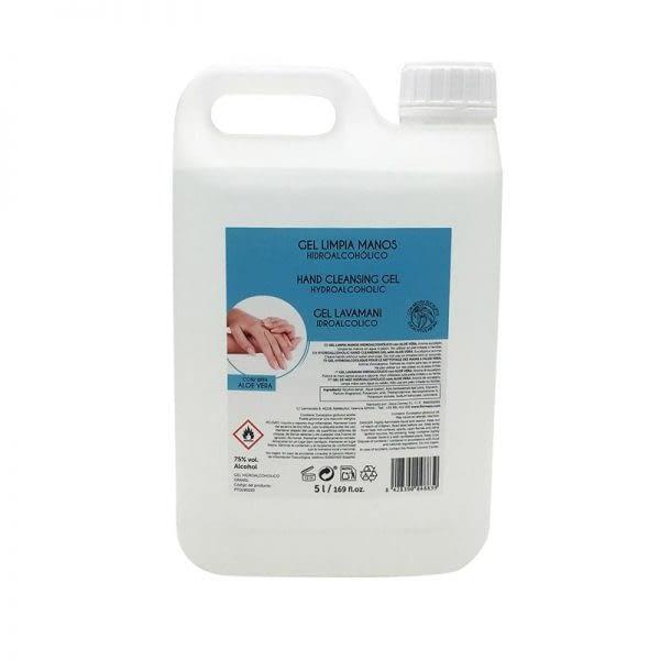 Gel desinfectante hidroalcohólico limpia manos con Aloe Vera. Garrafa 5l -