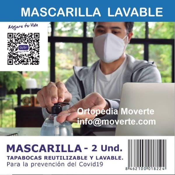 Mascarilla tapabocas reutilizable y lavable – 2 unidades -