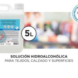 Garrafa de 5 litros - Solución hidroalcohólica para tejidos, calzado y superfícies. -