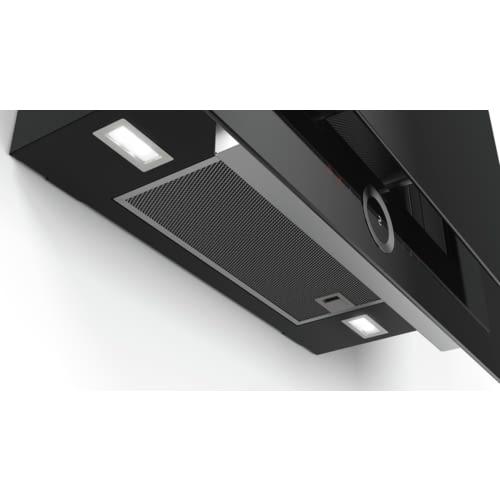 Nueva campana decorativa vertical Bosch DWF97RV60, cristal negro decorativo y 90cm
