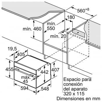 BOSCH CSG636BS3 Horno Compacto 45cm Inox Función Vapor de Gran Capacidad Interior | A+ - 6