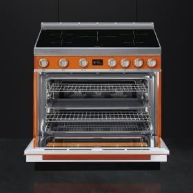Smeg CPF9IPOR Cocina Portofino Color Naranja 90x60cm Horno Pirolítico XXL y 5 Zonas de Inducción