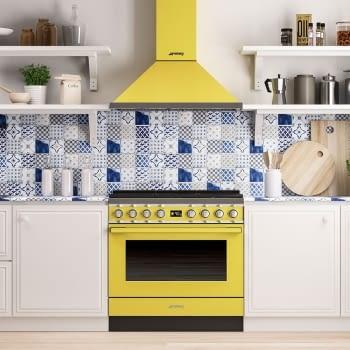 Smeg CPF9GPYW Cocina Portofino Amarilla con Encimera a Gas y Horno Eléctrico Pirolítico A+