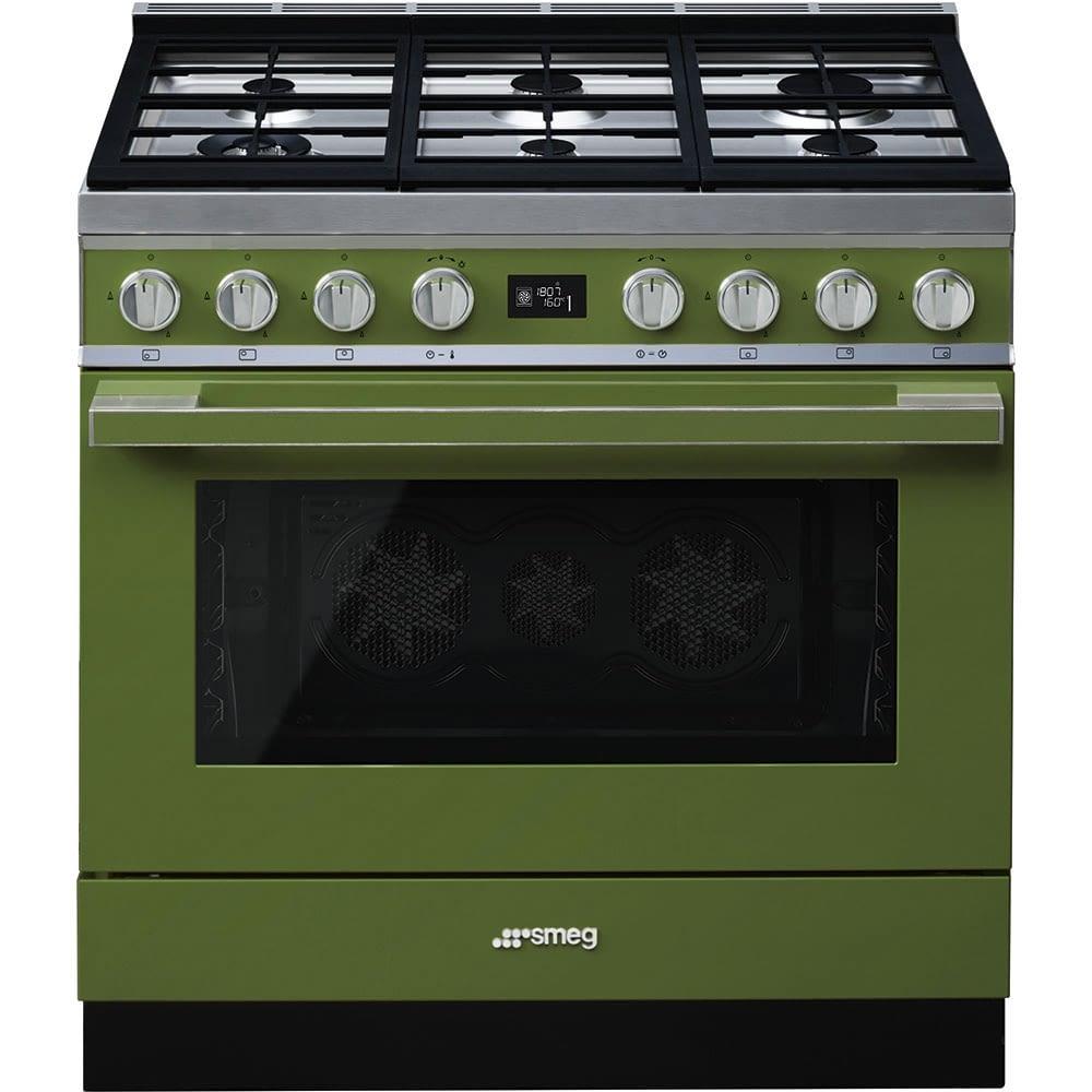 Smeg CPF9GPOG Cocina Portofino Verde con Encimera a Gas y Horno Eléctrico Pirolítico A+ -