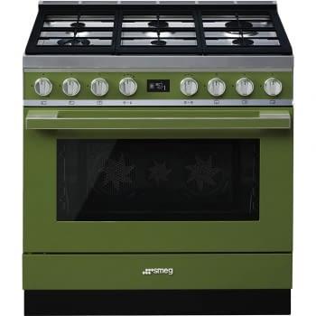 Smeg CPF9GPOG Cocina Portofino Verde con Encimera a Gas y Horno Eléctrico Pirolítico A+