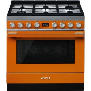 Smeg CPF9GPOR Cocina Portofino Naranja con Encimera a Gas y Horno Eléctrico Pirolítico A+