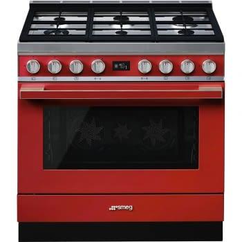 Smeg CPF9GPR Portofino Cocina Roja con Encimera a Gas y Horno Eléctrico Pirolítico A+