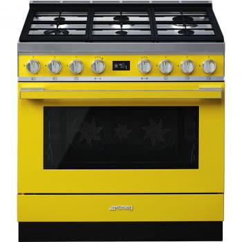 Smeg CPF9GMYW Cocina Portofino Amarilla con Encimera a Gas y Horno Eléctrico A+