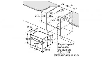 Bosch CMG633BB1 Horno Microondas Compacto 45cm Cristal Negro | Cocción 4D Horno+Micro | Promocionado - 3