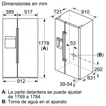Side by Side Siemens KA92DHXFP Frigorífico Americano | Dispensador puerta | Promocionado | Envío + Instalación + Retirada Gratis - 4