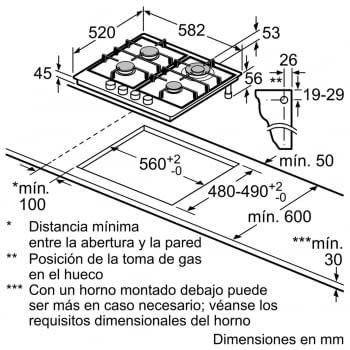 Placa de Gas Natural Bosch PGH6B5B90 Inoxidable de 60 cm con 4 Quemadores de Gas | Serie 4/STOCK - 5