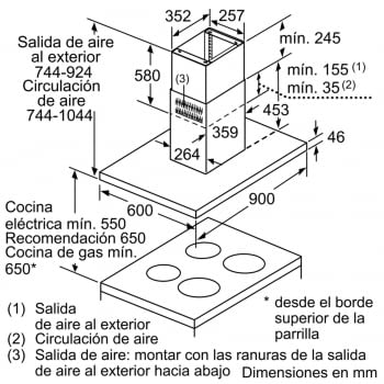 Bosch DIB98JQ50 Campana techo Isla A+ | Acero Inoxidable | 90cm Ancho | Promocionada - 5