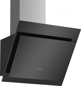 Campana decorativa de pared Bosch DWK67CM60 en Cristal Negro de 60 cm a 700 m³/h | B | Serie 6 - 1