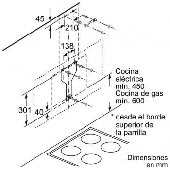 Campana decorativa de pared Bosch DWK67CM60 en Cristal Negro de 60 cm a 700 m³/h | B | Serie 6 - 5