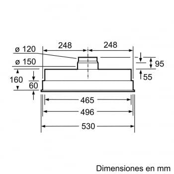 Grupo Filtrante Bosch DHL555BL en Plata Metalizado, de 53 cm a 618 m³/h | Clase C | Serie 4 - 5