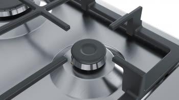 Placa de Gas Natural Bosch PGC6B5B90 Inoxidable de 60 cm con 3 Quemadores de Gas, 1 con Wok de doble llama | Serie 4 | Gas Stop | Autoencendido integrado | Stock - 3