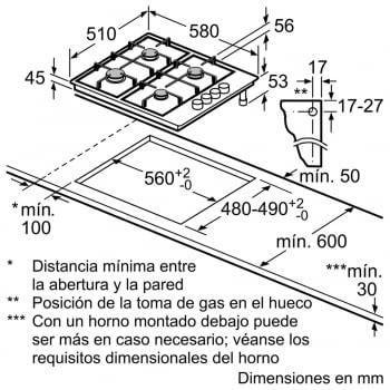 Placa de Gas Natural Bosch PGC6B5B90 Inoxidable de 60 cm con 3 Quemadores de Gas, 1 con Wok de doble llama | Serie 4 | Gas Stop | Autoencendido integrado | Stock - 4