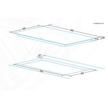 Edesa EIR-8330 B Placa de Inducción 40cm | 3 Zonas de Inducción | 9 Niveles de Potencia + Función Booster | Biselado Completo - 2