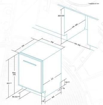 EDESA EDB-6021-I Lavavajillas Integrable 60cm | Función Media Carga | Programa rápido 30 min | 12 Servicios A+ - 6