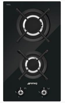 Placa Gas Domino Smeg PV332CN 30cm 2 Fuegos Cristal Negro | Envío Gratis