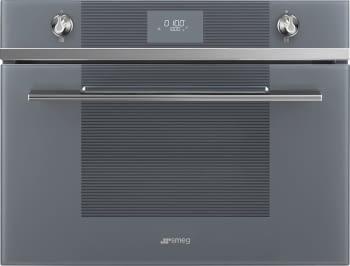 Horno Compacto SMEG SF4101MCS1 | 45cm | Cristal Plateado | Con función Microondas