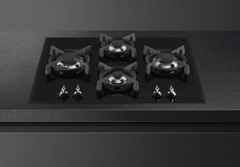 Placa Gas Smeg PV364LCN 65cm 4 Fuegos Cristal Negro | Envío Gratis