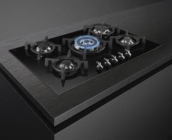Placa Gas Smeg PV375CN 75cm 5 Fuegos Cristal Negro | Envío Gratis