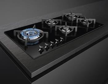 Placa Gas Smeg PV395LCN 90cm 5 Fuegos Cristal Negro | Envío Gratis