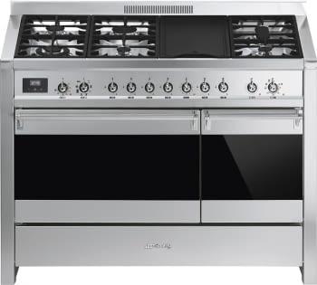 SMEG A3-81 Cocina a Gas | Diseño OPERA 120 x 60 | 2 Hornos | Acero Inox | Envío Gratis