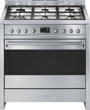 SMEG A1PY-9 Cocina a Gas 90cm x 60cm | 1 Horno Pirolítico | Acero Inox | Envío Gratis