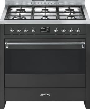 SMEG A1A-9 Cocina a Gas  90cm x 60cm | 1 Horno Eléctrico | Gris Antracita | A++ | Envío Gratis