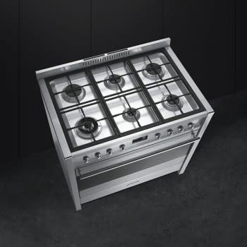 SMEG A1A-9 Cocina a Gas  90cm x 60cm | 1 Horno Eléctrico | Gris Antracita | A++ | Envío Gratis - 2