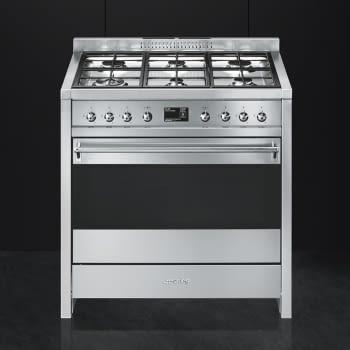 SMEG A1A-9 Cocina a Gas  90cm x 60cm | 1 Horno Eléctrico | Gris Antracita | A++ | Envío Gratis - 3