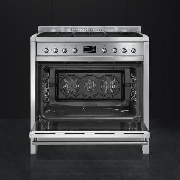 SMEG A1A-9 Cocina a Gas  90cm x 60cm | 1 Horno Eléctrico | Gris Antracita | A++ | Envío Gratis - 4