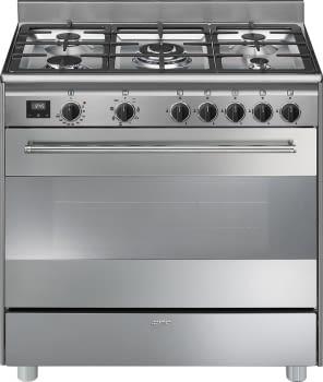 SMEG BG91X9-1 Cocina a Gas 90cm x 60cm | 1 Horno Eléctrico | Acero Inoxidable | Envío Gratis