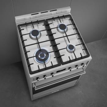 SMEG C6GMX9 Cocina de Gas | Diseño Clásico 60 x 60 | 1 Horno Eléctrico | Acero Inoxidable | A - 6