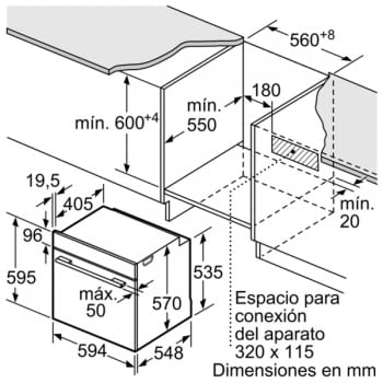 Horno Multifunción Pirolítico Bosch HRG5785S6 a Vapor 60cm | Wifi Home Connect | Inoxidable con Cristal Negro | Clase A - 7