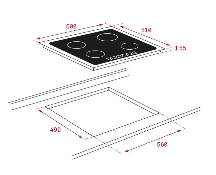 Placa inducción Teka IZC 63015 60cm Cristal Negro 3 Zonas Ø160/280mm -