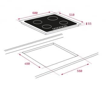 Placa inducción Teka IZC 63015 60cm Cristal Negro 3 Zonas Ø160/280mm