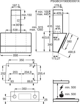 Campana Decorativa Inclinada 90cm Electrolux LFV619K  Negro   Jolly   Encendido Automático Placa-Campana   700m3   Clase A - 11
