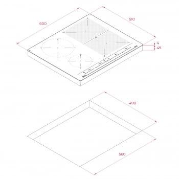 Placa de Inducción Teka IZF 64440 BK MSP (Ref. 112510019) de 60 cm con 5 zonas de inducción (4 + 1 Flex combinada) - 9