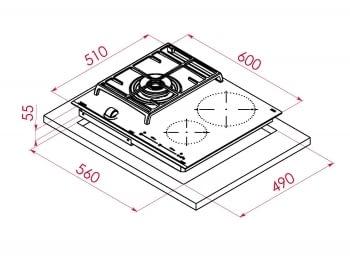 Placa Híbrida Inducción + Gas Teka JZC 63312 ABN (Ref. 112570112) de 60cm 2 Zonas Inducción 1 Quemador Gas | Control MultiSlider | PowerPlus - 12