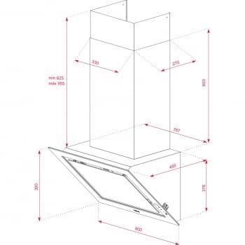 Campana decorativa vertical Teka DLV 98660 TOS (112930033) en Cristal Gris, de 90cm a 696 m³/h | Función FreshAir  | Clase A+ - 13